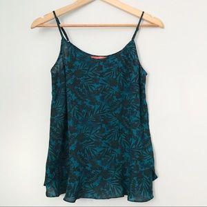 Teal floral chiffon blouse